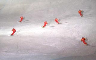 Ski school performing in the weeekly ski show